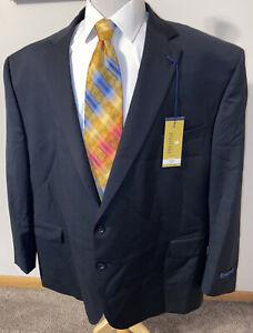 NEW Stafford Mens Sz 56L Big / Black Wool Super 100's Sport Coat Blazer Jacket