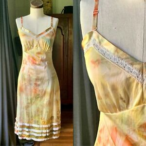 DYED PETALS Vintage Botanically Hand Dyed Tie-Dyed Slip Dress XS/S 32