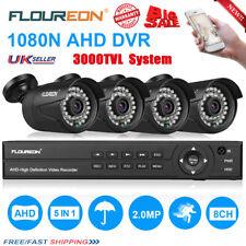 FLOUREON 8CH 1080N 5 IN 1 DVR 3000TVL CCTV Home Security IP Camera System Kit UK