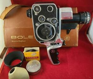 Paillard Bolex 8mm Movie Film Camera Zoom Reflex P1 w/ Carry Case + Light 1:1.9