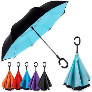 EEZ-Y Inverted Umbrella w/ Windproof Double Layer Construction - Reversed Foldin