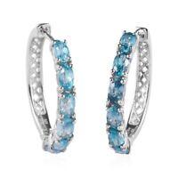 Platinum Over 925 Sterling Silver Blue Zircon Hoop Hoops Earrings Jewelry Ct 4.4