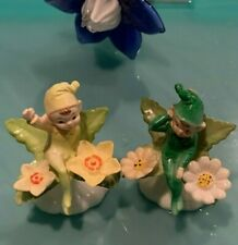 Vtg Set of 2 Pixies, Elves, Fairies Sitting on Flowers- Cake Toppers, Figurines