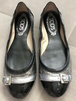 Tods Gray Black Silver Buckle Patent Leather Cap Toe Ballet Flats Size 35.5