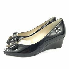 VAN DAL Bay PATENT Leather Mid Wedge Slip-On Classic Shoes Size UK 3 D VGC