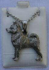 Norwegian Elkhound Dog Harris Fine Pewter Pendant w Chain Necklace USA Made