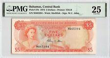 Bahamas 1974 P-37b PMG Very Fine 25 5 Dollars (Allen)