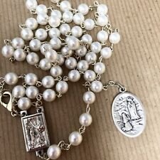 """LOURDES BERNADETTE pearl rosary made in Poland Italian parts 18.5"""""""