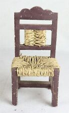 """Lightweight Wooden Doll Chair with Woven Rush Seat and Back 10"""""""