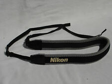 NIKON CAMERA NECK STRAP  Neoprene, soft , Genuine Black / Grey