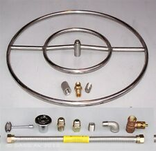"""24"""" Stainless Steel FIRE PIT DOUBLE RING GAS  BURNER KIT PROPANE Fireglass lava"""