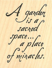 Garden Sacred Space Wood Mounted Rubber Stamp IMPRESSION OBSESSION D14181 New