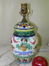 Antique Italian Hand Painted Faience Majolica Figural Pottery Lamp