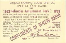 1963 PALISADES PARK EVERLAST SPORTING GOODS TICKET, COMPLIMENTS OF WNEW RADIO