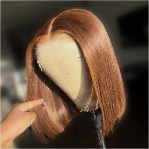 """Glueless Short BOB Brown Lace Front Remy Human Hair Wig Straight Pre-Plucked 12"""""""