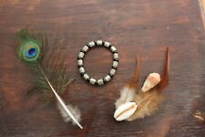 Funky Handmade Stretch Black Glass Bead & Silver Tibetan Dotted Stylish Bracelet