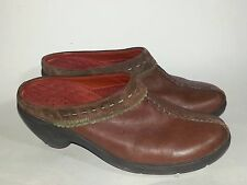 Clarks Privo 75863 Womens Brown Green High Heel Mules Slip On Clogs Leather sz 6