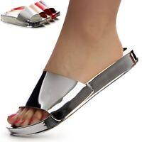 Damenschuhe Pantoletten Metallic Plateau Sandalen Sandaletten Slipper