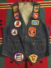 Vtg Levi Denim Orange Tab Vest Biker Motorcycle Patches Size M USA!!!