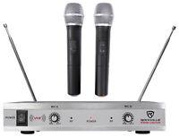 Rockville RWM1202VH VHF Wireless Dual HandHeld Microphone System/Metal Receiver
