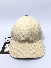 NEW GUCCI GG GUCCISSIMA BEIGE COTTON LOGO WEB DETAIL BASEBALL CAP HAT XL