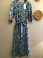 ZARA BLUE EMBROIDERED DRESS WITH BELT SIZE S Genuine Zara