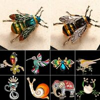 Women Lovely Crystal Animal Cat Bird HoneyBee Insect Brooch Pin Jewelry Party