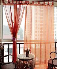 Pretty Orange Flower Tab Top Sheer Curtain---145cm x 245cm