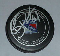 BENOIT POULIOT SIGNED OFFICIAL N.Y. RANGERS LOGO PUCK OILERS WILD CANADIENS JSA