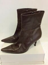 JONES THE BOOTMAKER DARK BROWN LEATHER ANKLE BOOTS SIZE 6/39