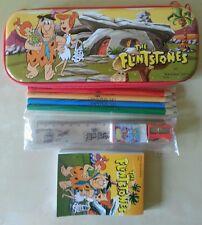 Astuccio scuola flintstones matite + righello + gomma + block notes originale