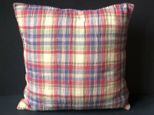 RARE RALPH Lauren CHAPS Decorative PILLOW CHADWICK COUNTRY PLAID Shabby RED BLUE