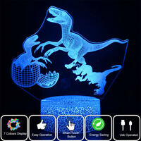 Jurassic Dinosaur 3D Night Light 7 Color LED Desk Table Lamp Creative kids Gift