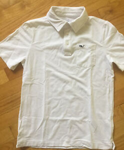 Vineyard Vines BOYS Edgartown Polo Whale Shirt SZ S 8-10 White