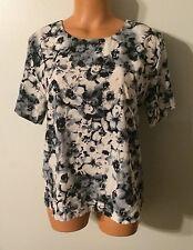 •• Women's Miami Size Medium Blouse SS Shirt Zip Back Polyester Top