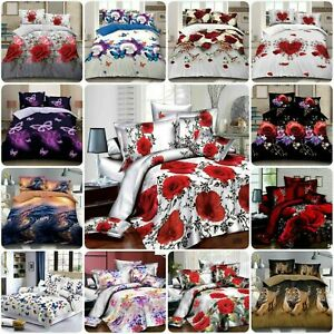3D Effect 4 Piece Printed Duvet Quilt Cover Luxury Complete Bedding Set all size