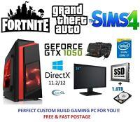 Fast Gaming PC Computer Bundle Monitor Quad Core i7 16GB 120GB SSD 1TB GTX 1050