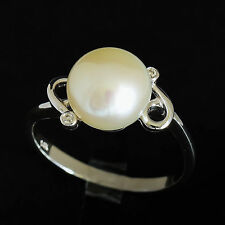 PEARL RING 9mm CULTURED PEARL GENUINE DIAMONDS REAL 14K WHITE GOLD SIZE N NEW