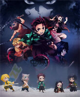 6pcs Demon Slayer: Kimetsu no Yaiba Kamado Tanjirou Q Ver. Figure Model Toy Gift