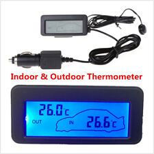 CAR THERMOMETER INDOOR & OUTSIDE TEMPERATURES - 1.5M CABLE & LCD Digital DISPLAY