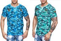 Herren T-Shirt Camouflage Army Shirt Rundhals Slim Fit Baumwolle John Kayna