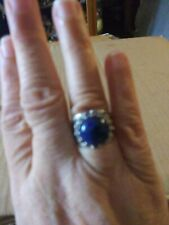 Lapis lazuli Wide Ornate Band Sterling Silver Sz6