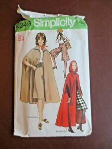 1970s SEWING PATTERN Cape Coat & Wide Gaucho Pants Simplicity Size 14