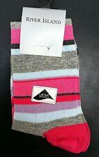 Vintage Ladies River Island Fashion Ankle Socks Pink Stripe Hosiery Teen Ref 003
