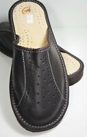 MENS BROWN 100% LEATHER  SLIPPERS MULES SLIP ON SHOES ORTHOPEDIC SIZE 9 TO 13
