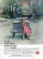 1960 Japan Air Lines PRINT AD Kasuga Shrine Nara, Gown by Pat Premo originals