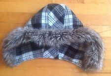 Replacement Plaid / Faux Fur Hood Only Hood No Coat Included 18 in X 11 inch