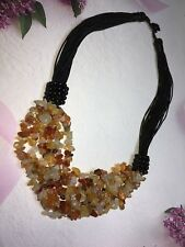 Beautiful High Quality Natural Carnelian Quartz Multi-strand  Silk Necklace