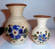 Two Hand Decorated Mini POTTERY VASES 1990s Florals In BLUE