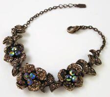 £40 Boho Baroque Gold Peach Blue Pave Flower Bracelet Swarovski Elements Crystal